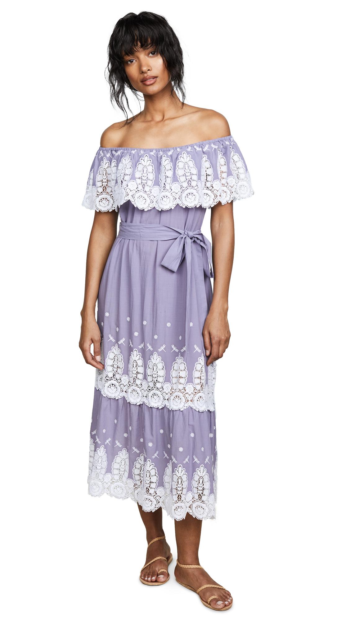Miguelina Liselle Off Shoulder Dress In Dusty Purple