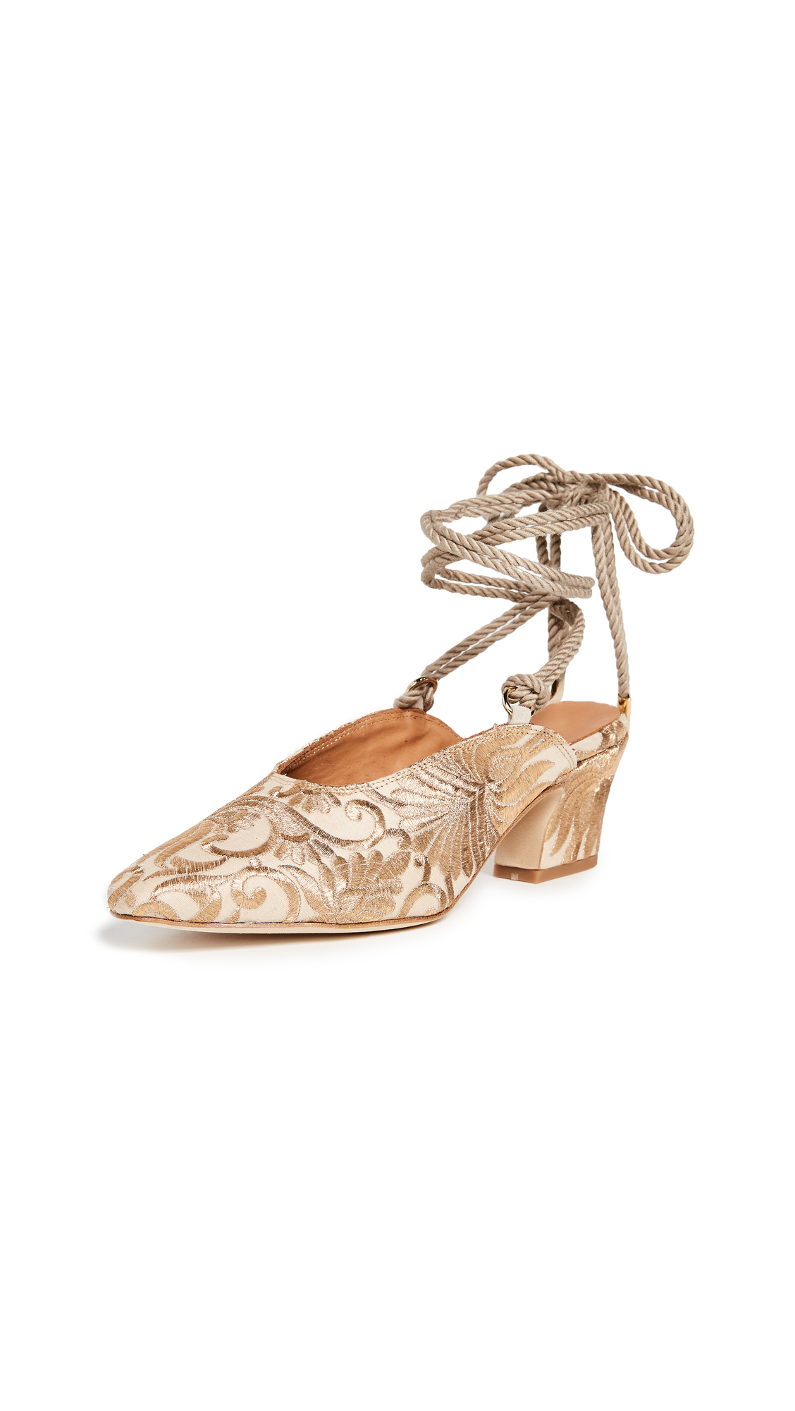 Miista Hope Pumps - Cream/Gold
