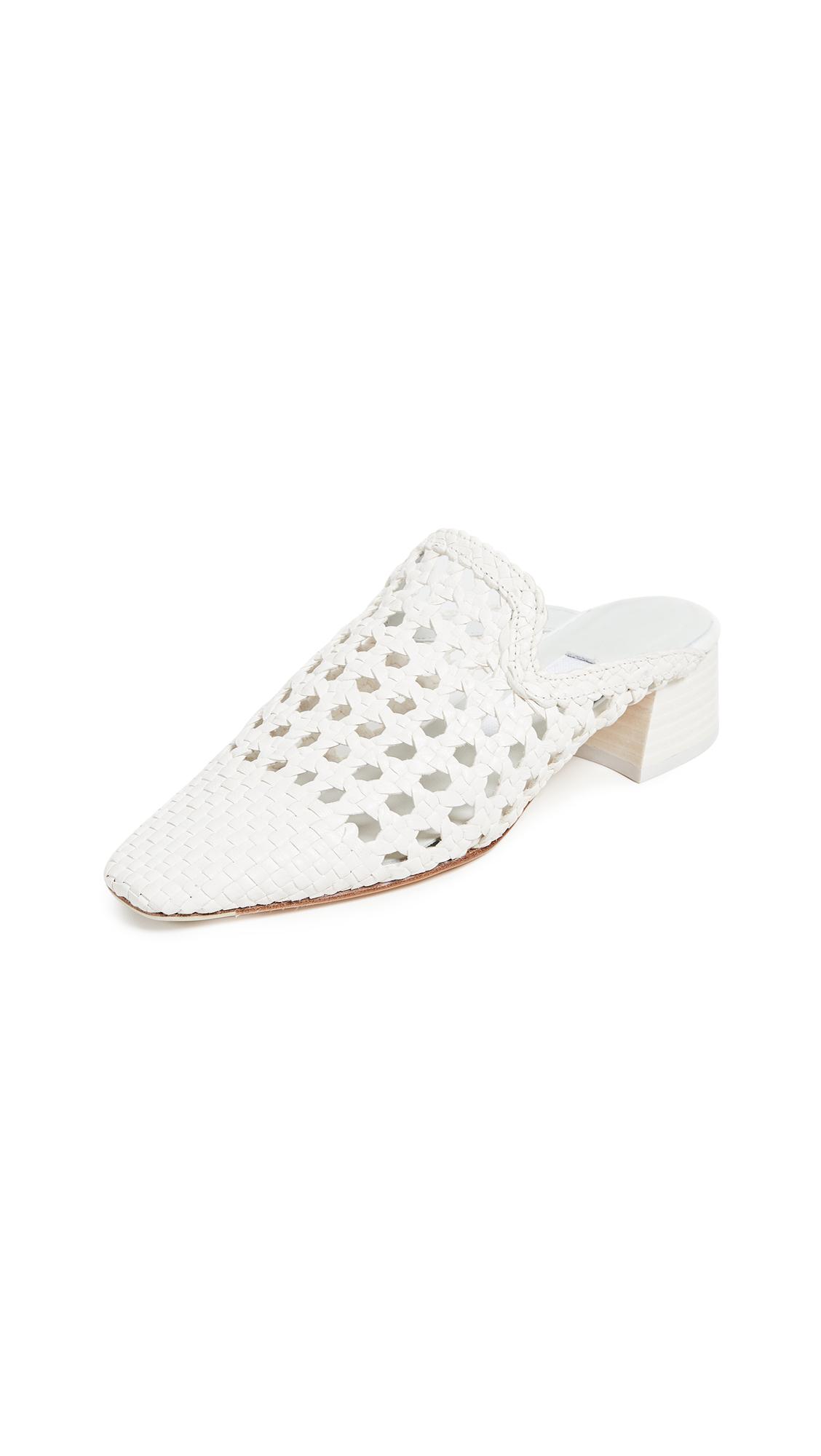 Ida Block Heel Mules, Pure White