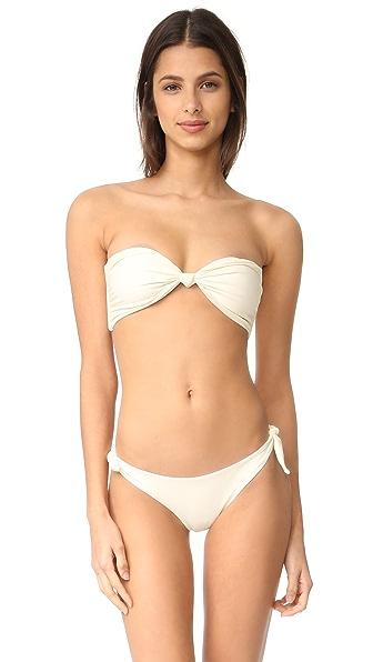 MIKOH Carmel Knot Bandeau Bikini Top - Bone