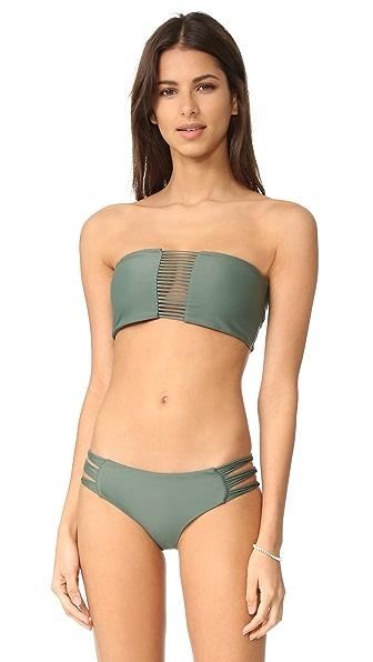 MIKOH Sunset Triple Loop Bandeau Bikini Top - Army