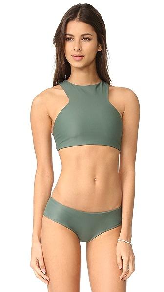 MIKOH Barbados Cutout Bikini Top - Army