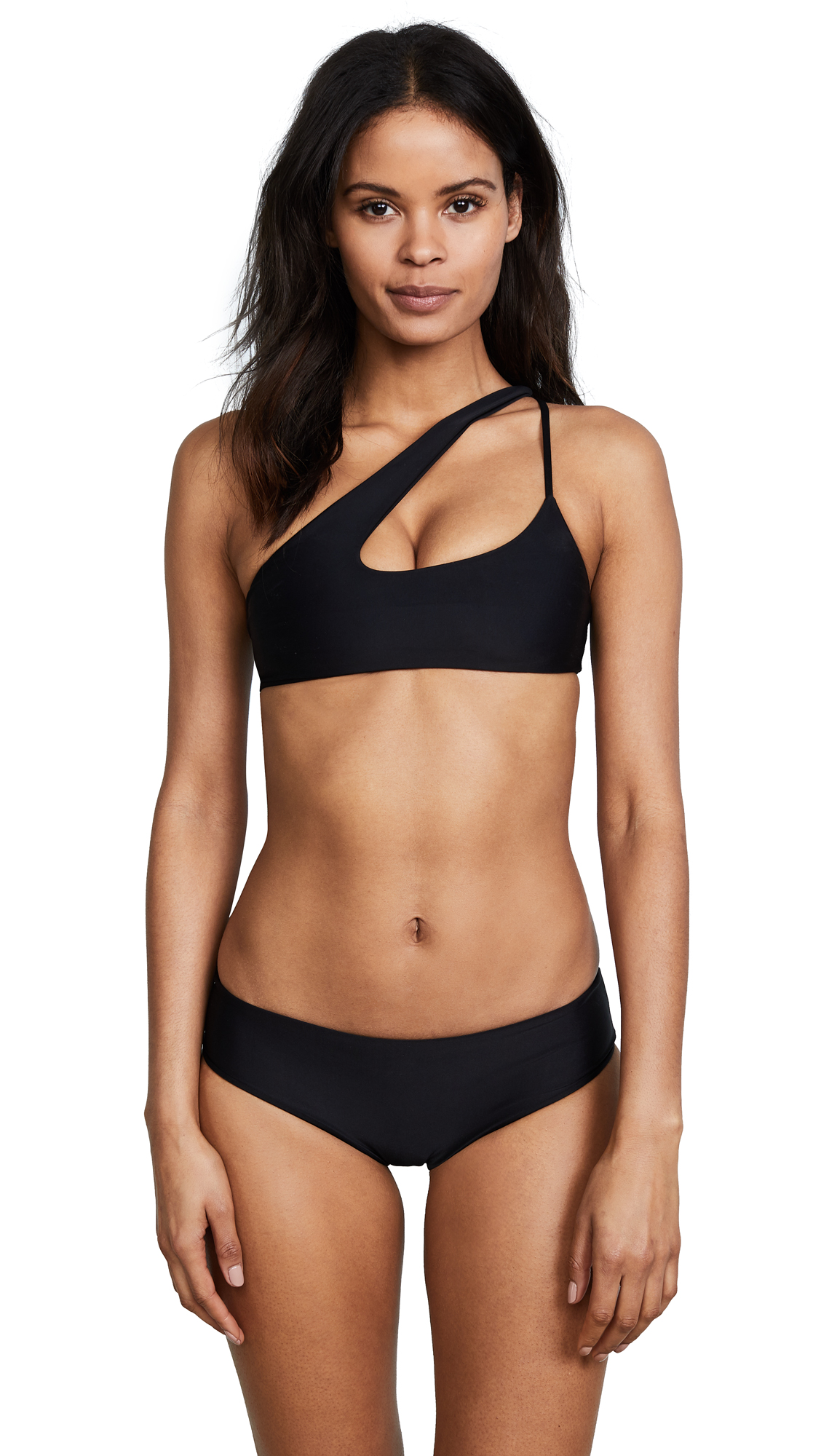 MIKOH Queensland Cross Shoulder Bikini Top In Night