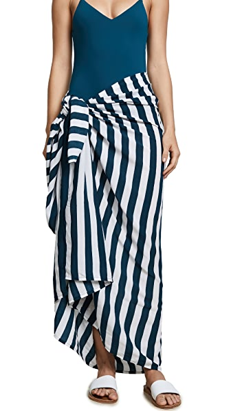 MIKOH Kainoa Sarong In Swell Lines Drop Off Blue