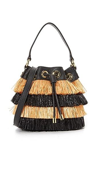 Milly Raffia Bucket Bag - Black Multi