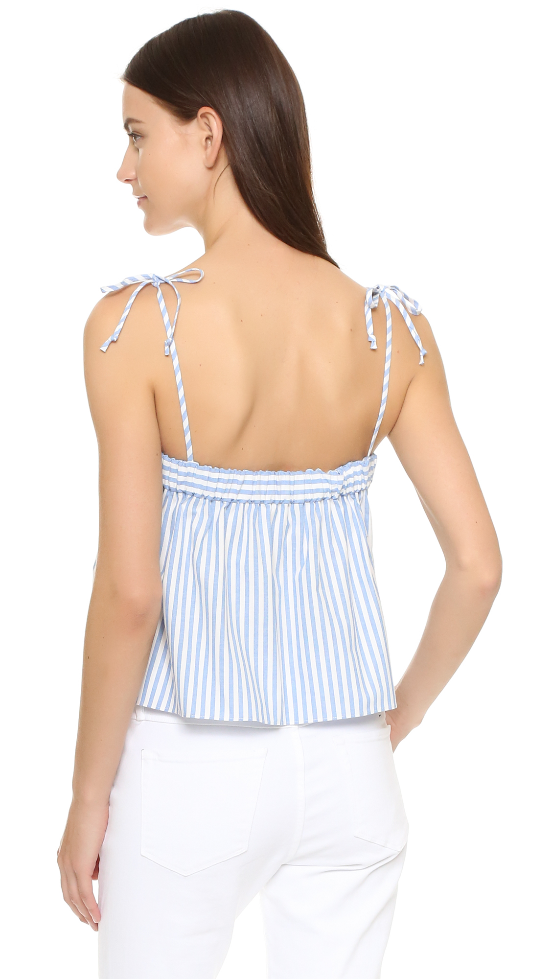6a23dcf5e1324 Milly Pinstripes Tied Crop Top