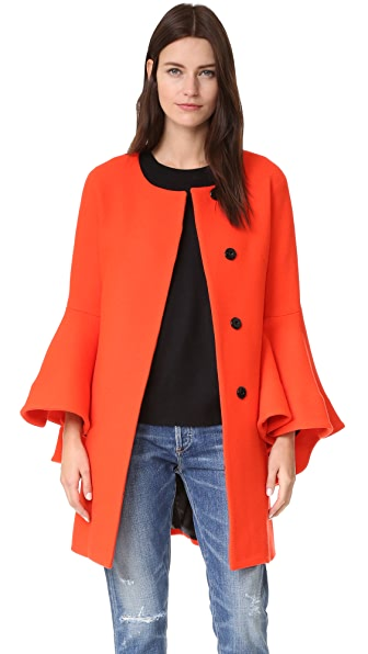 Milly Flare Sleeve Tie Coat - Flame