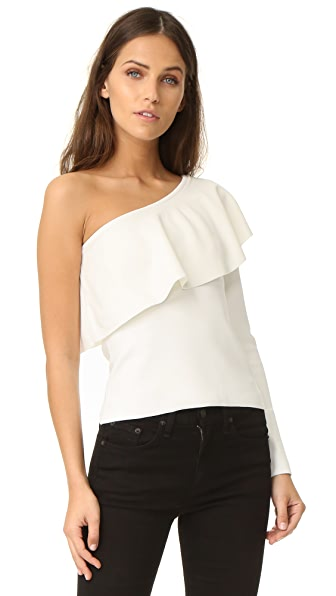 Milly One Shoulder Flounce Top - White