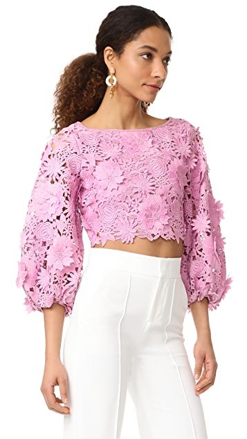 Milly 3D Floral Embroidery Camilla Top