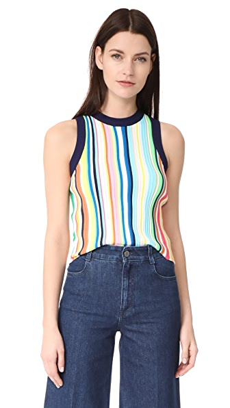 Milly Vertical Stripe Shell Top - Rainbow