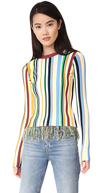 Milly Vertical Stripe Pullover Sweater