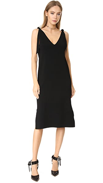 Milly Tie Shoulder V Neck Dress