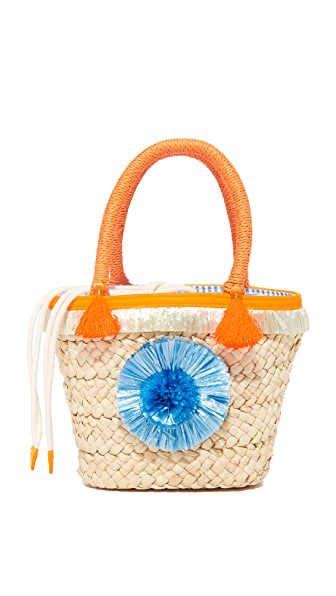 Milly Pom Pom Straw Small Tote - Natural