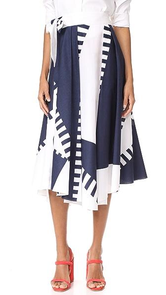 Milly Spinnaker Print Peyton Midi Skirt