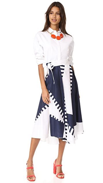 Milly Spinnaker Print Peyton Midi Skirt