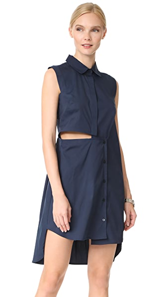 Milly Cotton Poplin Cutout Shirtdress
