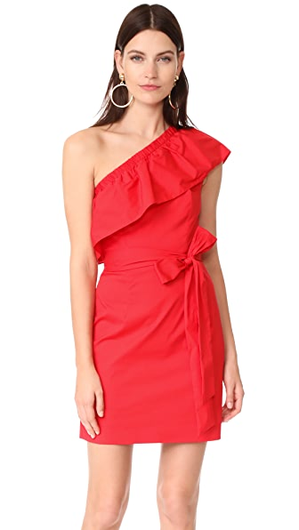 Milly Cotton Poplin One Shoulder Tara Dress
