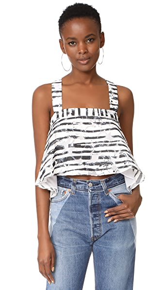 Milly Floral Striped Burnout Kennedy Tank