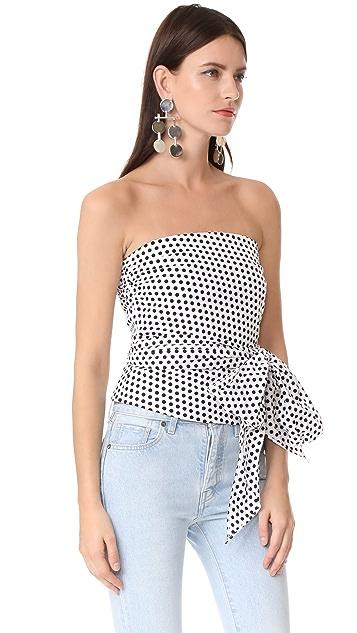 Milly Dot Print Strapless Blouse