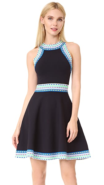Milly Woven Trim Flare Dress - Navy