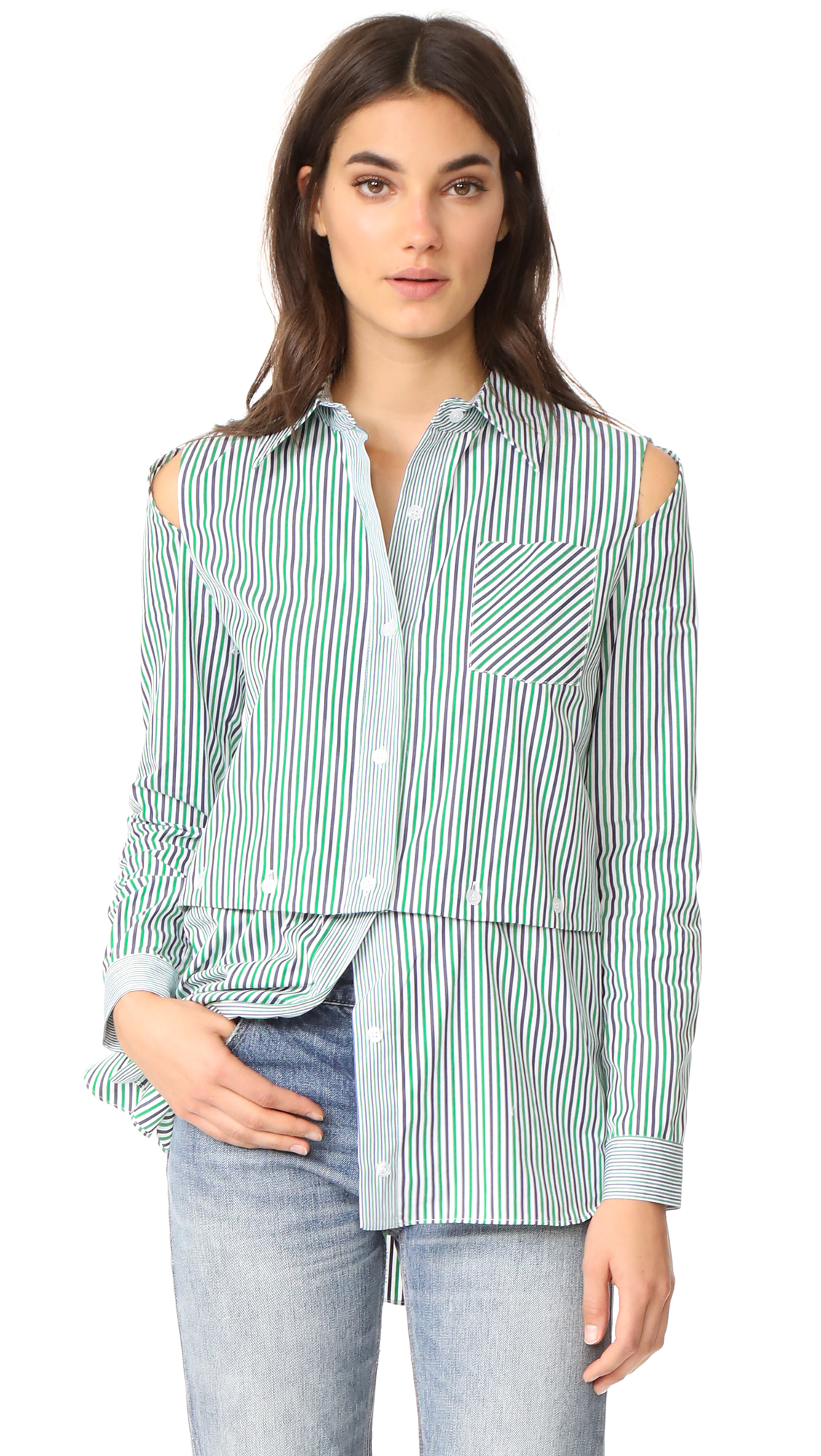 Milly Stripe Fractured Shirting - Emerald