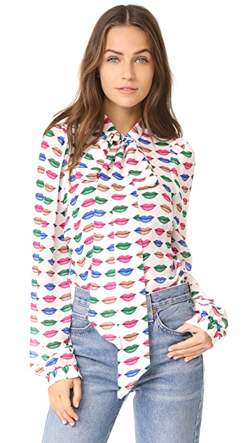 Milly Kiss Print Tie Neck Blouse