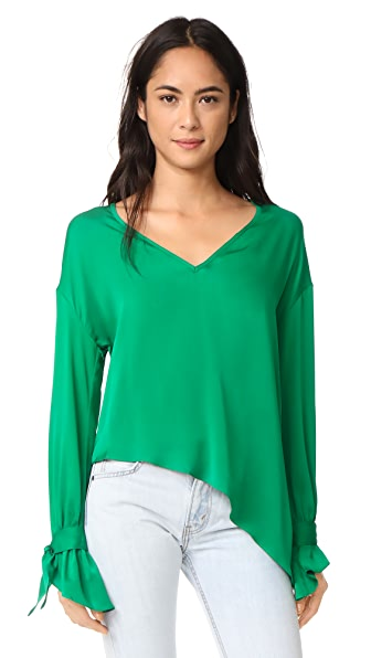 Milly Silk Nicolina Top In Emerald