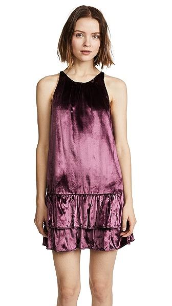 Milly Velvet Kiki Dress In Burgundy