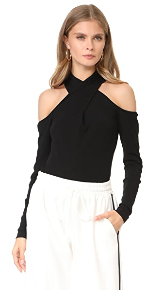 Milly Wrap Keyhole Neck Top - Black