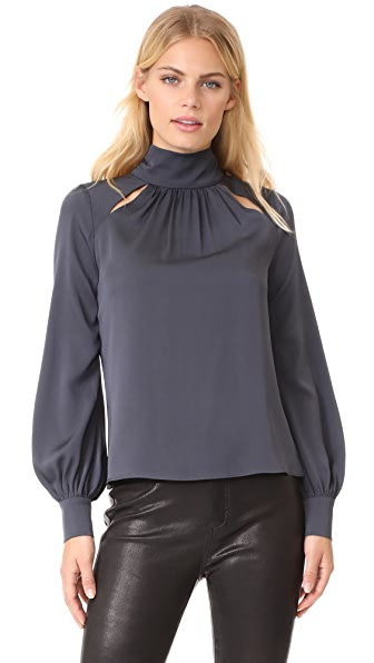 Milly Simona Silk Top - Grey