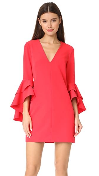 Milly Cady Ruffle Dress In Cherry