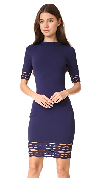 Milly Cutout Fitted Sheath Dress - Navy