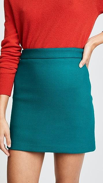 Milly Doubleface Wool Modern Miniskirt