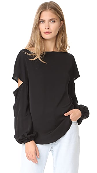 Milly Stretch Silk Dahlia Blouse - Black