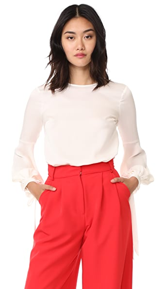 Milly Stretch Silk Juliette Blouse In Ecru
