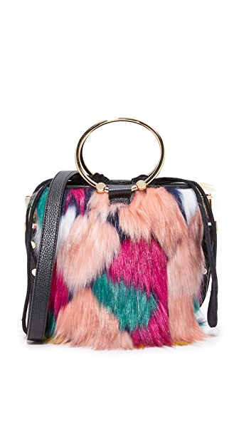 Milly Faux Fur Drawstring Bucket Bag - Multi