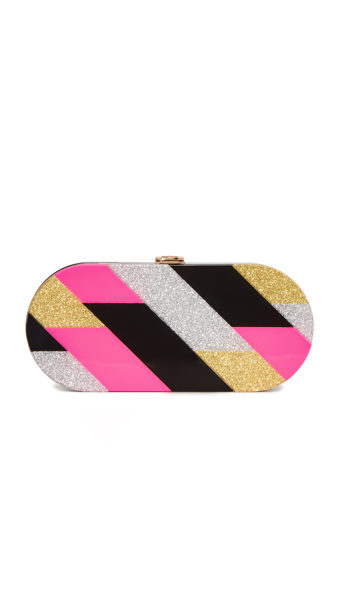 Milly Pink Geo Oval Clutch - Multi