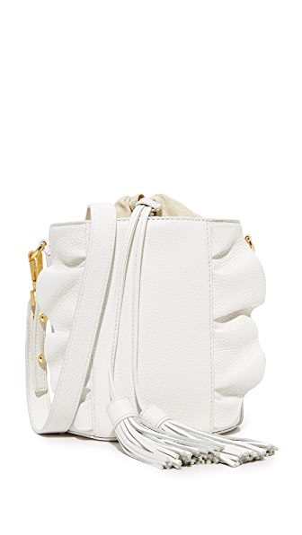 Milly Astor Ruffle Drawstring Bucket Bag - White