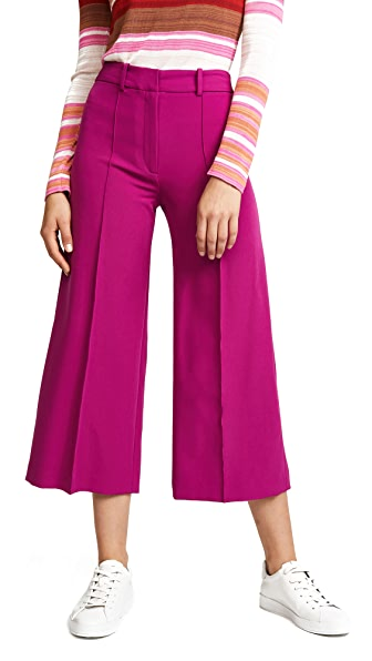 Milly Italian Cady Cropped Hayden Pants In Berry