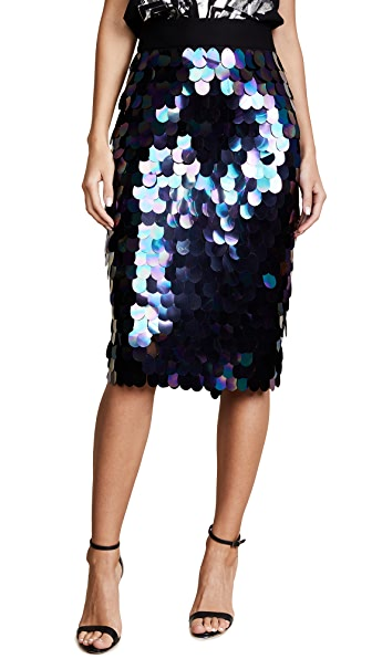 Milly Paillette Sequin Midi Skirt In Peacock