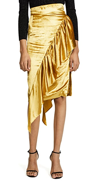 Milly Panne Velvet Cascade Tie Skirt
