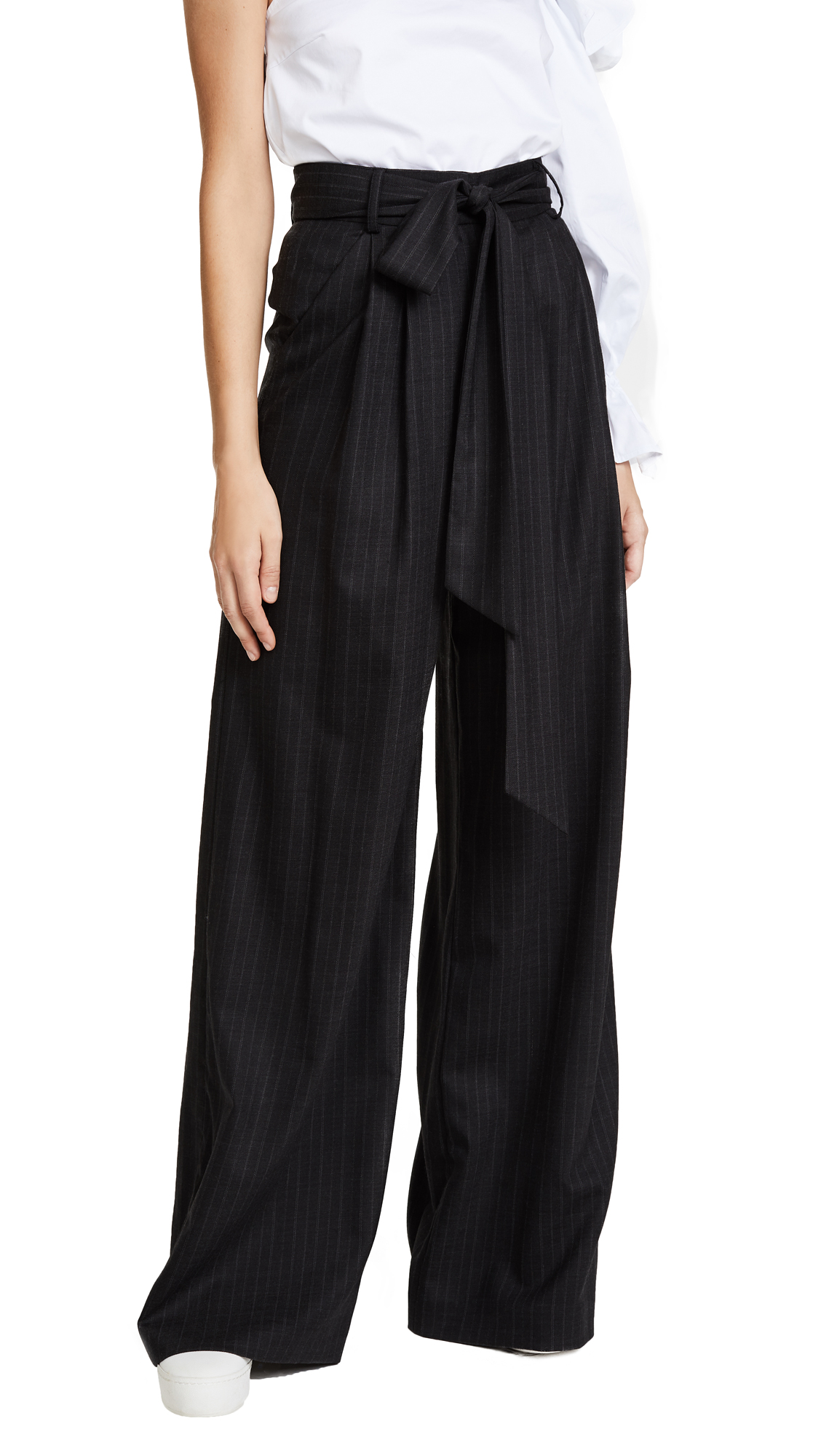 Milly Italian Pinstripe Natalie Pants - Grey Stripe