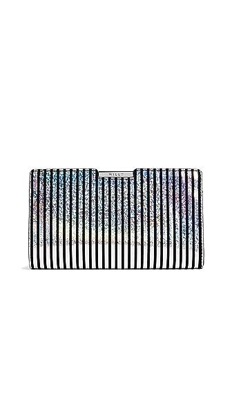 Milly Metallic Stripe Frame Clutch