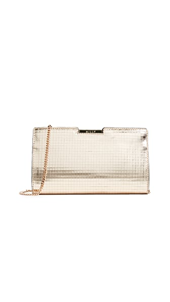 Milly Mosaic Frame Clutch In Gold