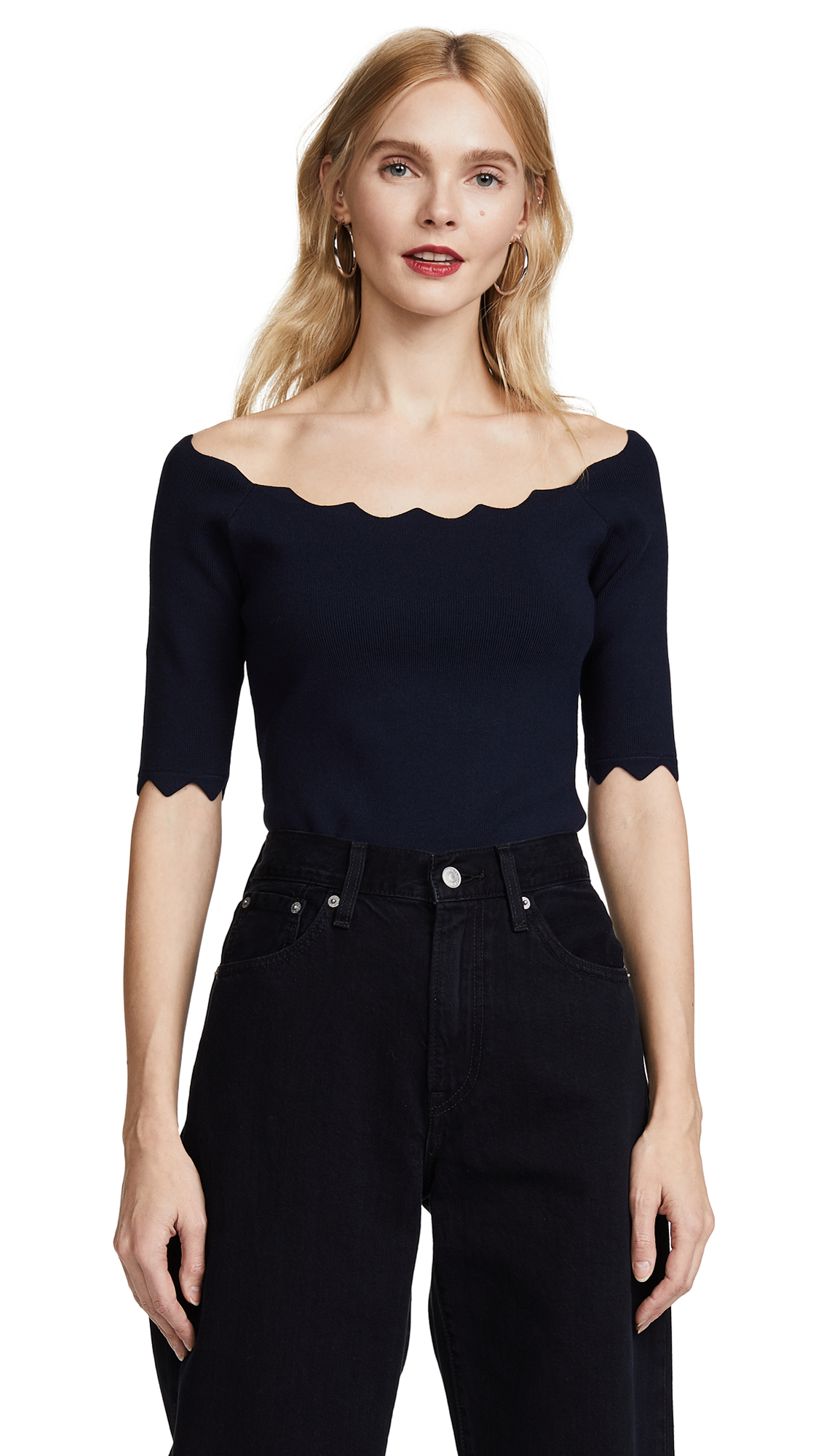 Milly Pointed Scallop Pullover - Navy