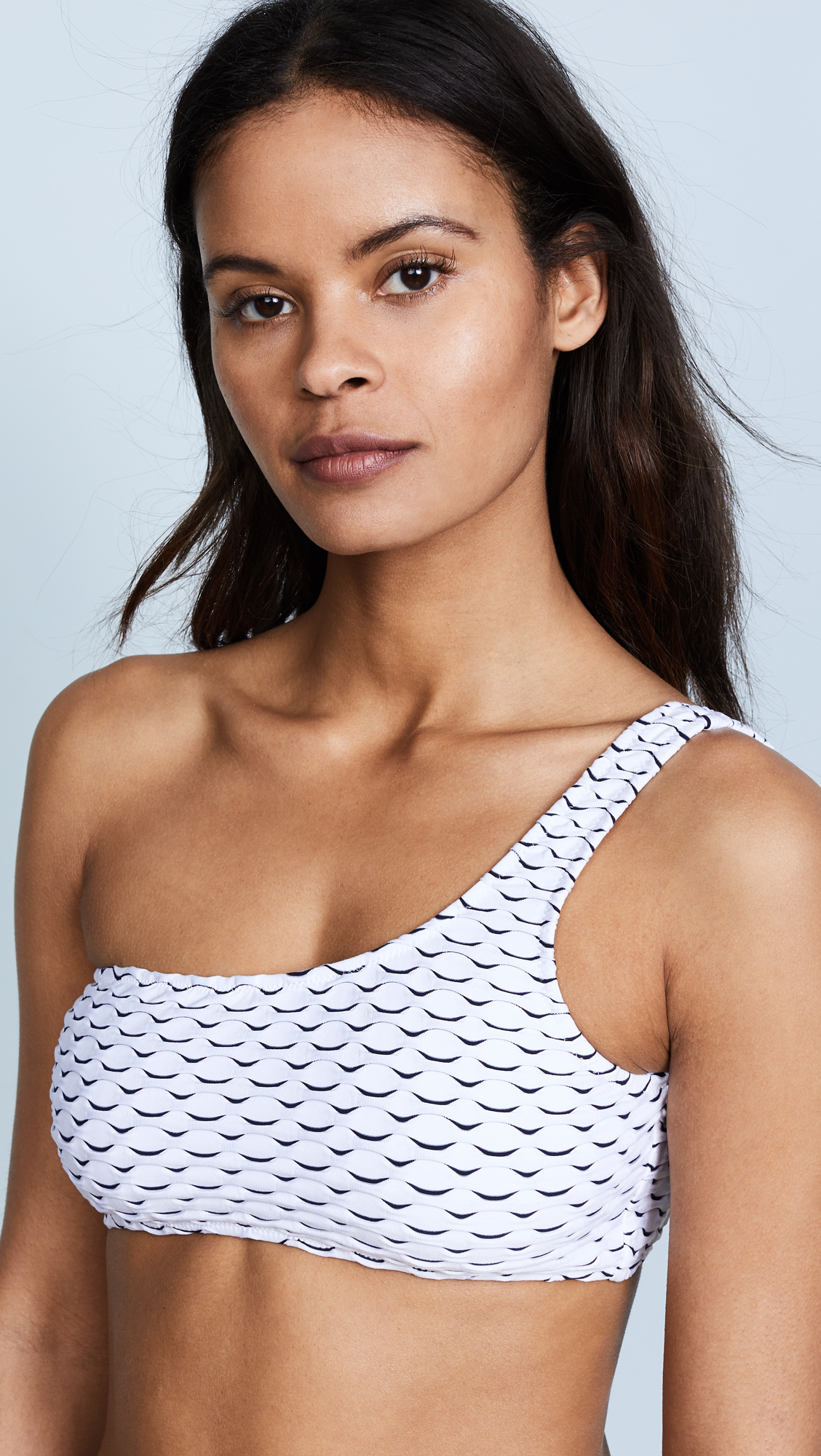 feaefb8d2b4fb MILLY WAVE STRETCH JACQUARD ONE SHOULDER TOP, WHITE | ModeSens
