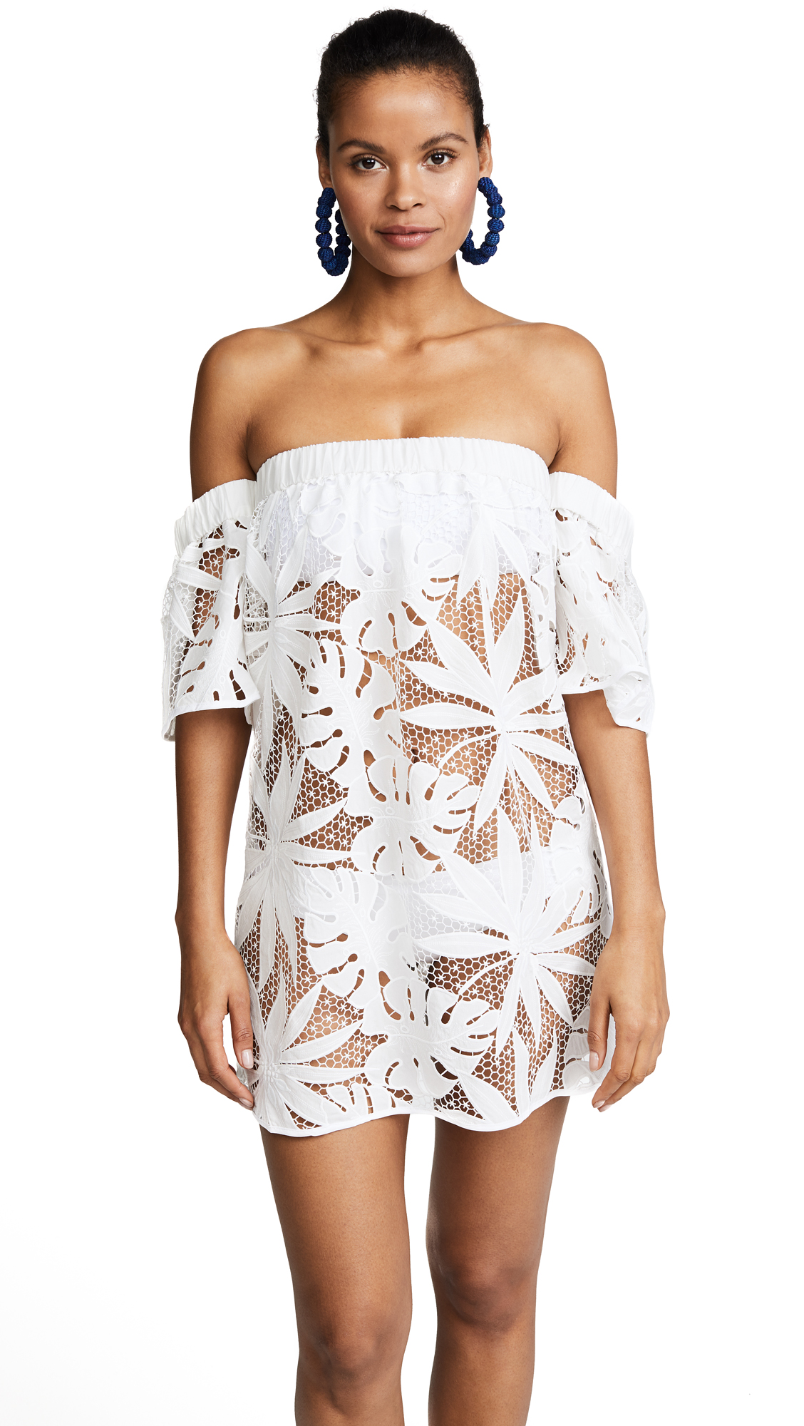 Milly Tropical Embroidery Netting Flutter Sleeve Coverup