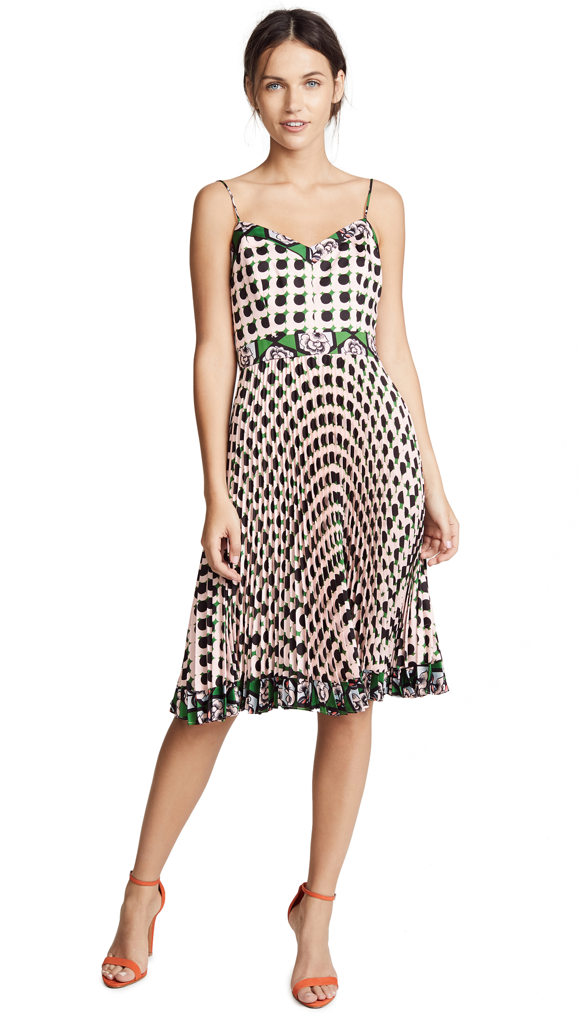 Milly Jill Twill Pleated Dress With Floral-print In Pink
