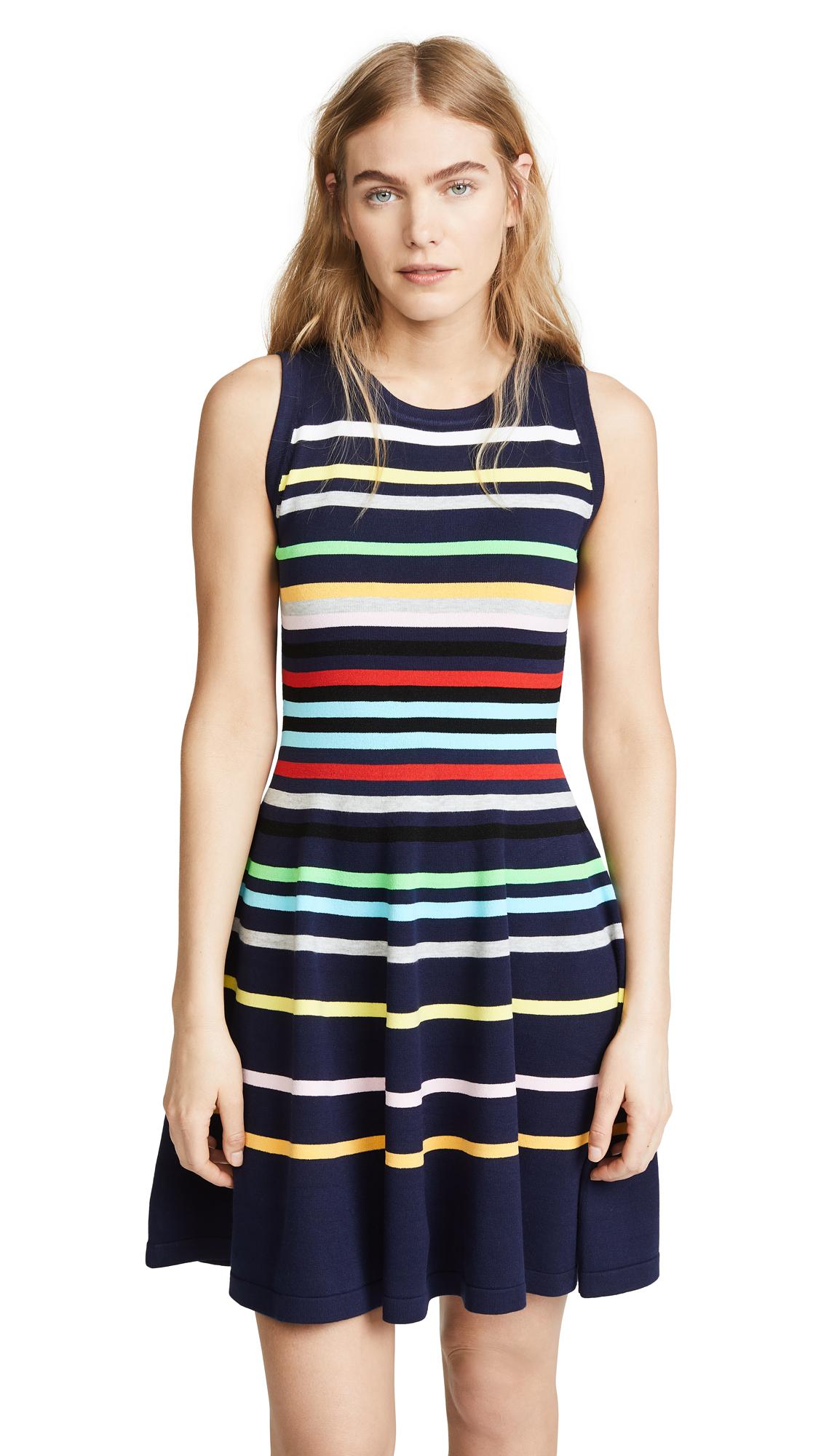 Milly Rainbow Stripe Flare Dress