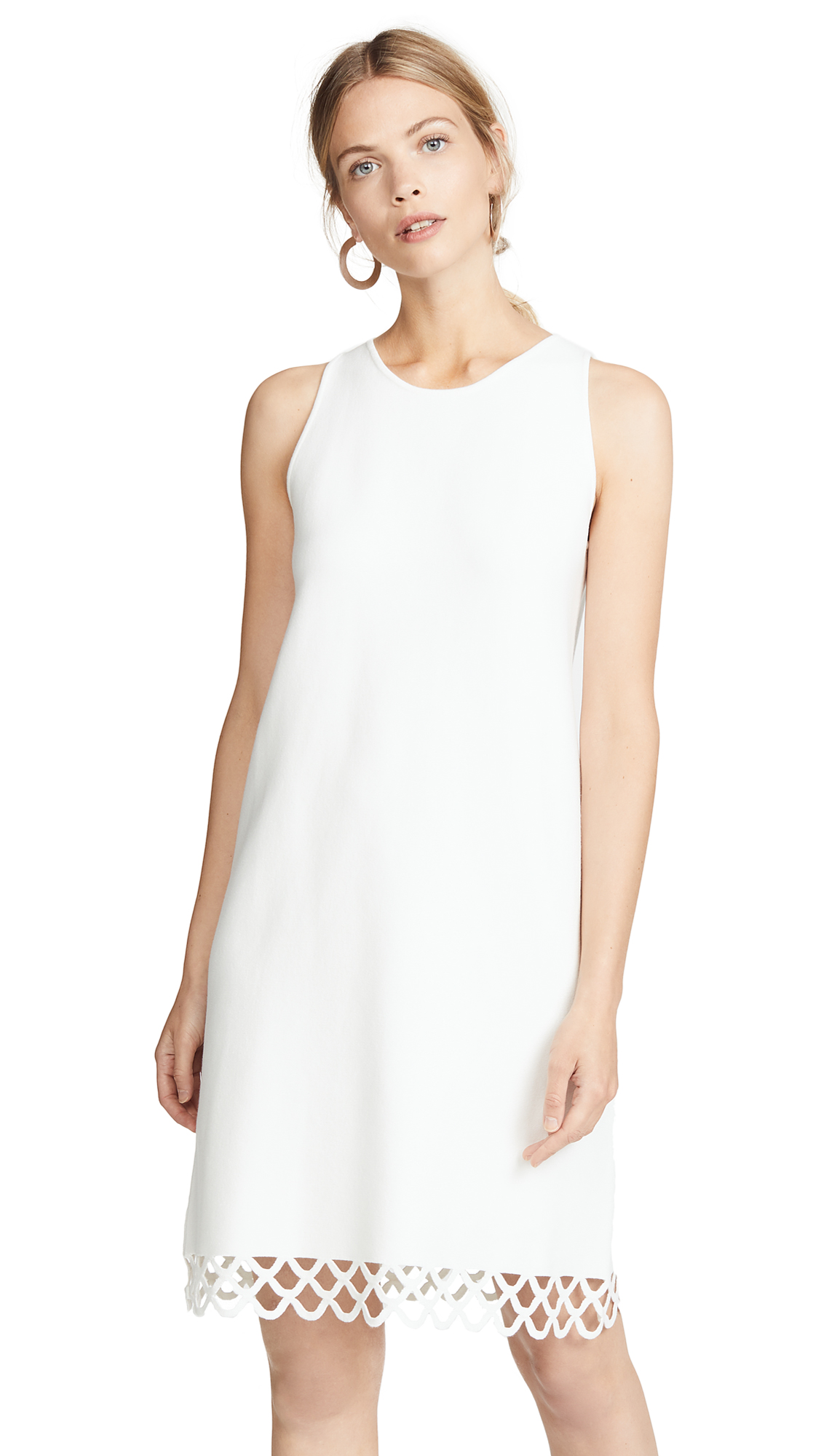 Milly Eyelet Scallop Shift Dress In White